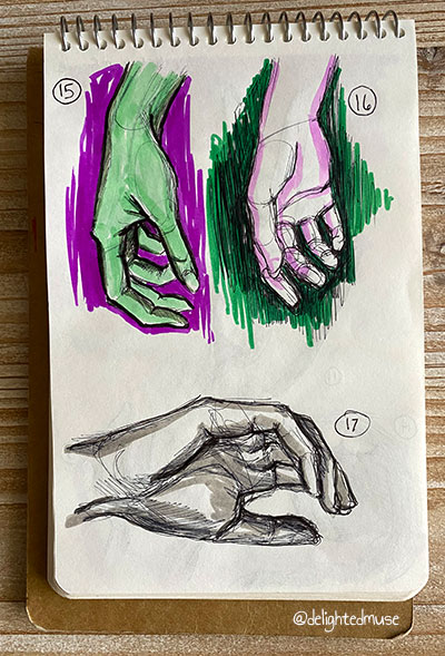 Three hand sketches, two hanging down kind fo limp and one cupped a little. Drawn in black ball point pen, one colored in green.