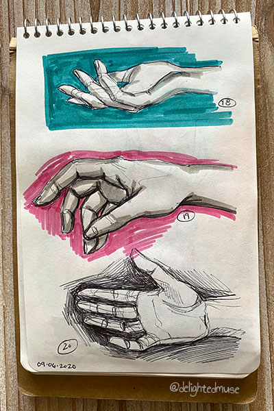 Sketchbok page of three hand sketches in black ballpoint pen and grey marker, with background of pink and blue marker for two hands.