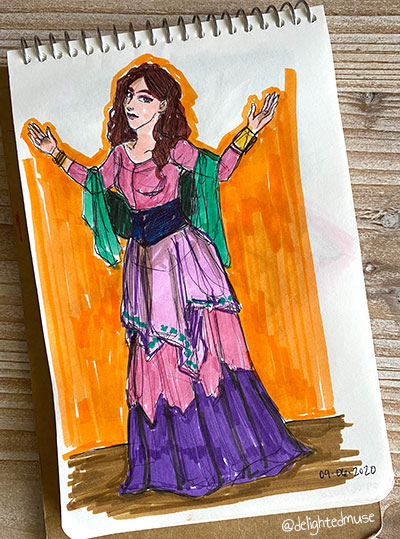 Sketchbook page of a woman wearing a renaissance fair dress and a green shawl. The background is rough orange marker brush strokes. Her pose is kind of a meh shrug.