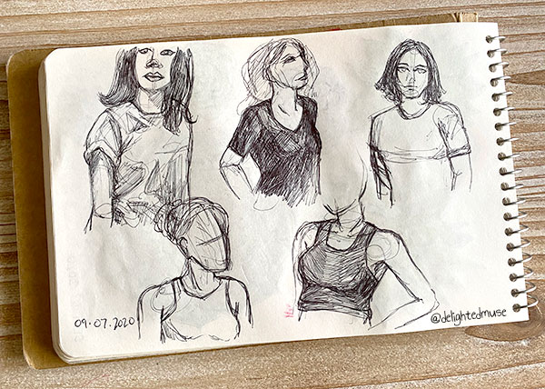Sketchbook page of female torsos wearing t-shirts and tank tops, drawn in ball point pen