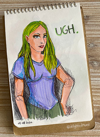 Sketchbook page of a rough sketch of a girl with green hiar. The word ugh is written by her face