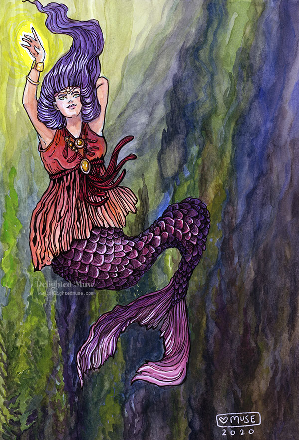 A watercolor painting of a mermaid with purple hair and a red flowing dress top