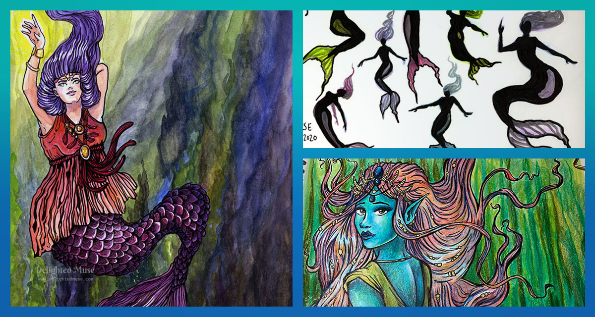 A collage of three paintings: the first a mermaid with purple hair and a red flowing dress top, the second silhouettes of female mermaid figures, and the third a portrait of a blue-skinned mermaid with flowing pink hair