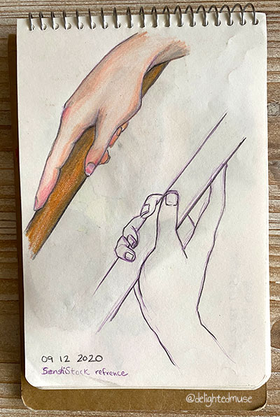Sketchbook page of two hand studies, one of a hand holding a wooden staff and pointing down, colored with peach skin tones. The other a similar pose holding the pole up, outlined in black and purple with no coloring.