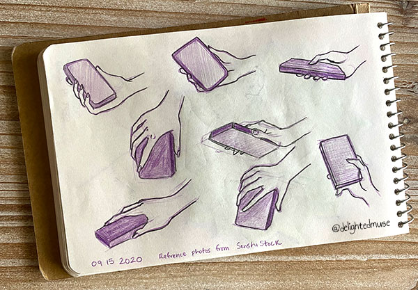 A sketchbook page showing eight hand studies of a hand holding a phone