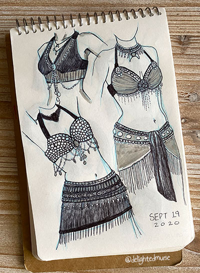 Three drawings of torsos with transnational fusion belly dance costumes