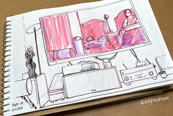 A rough sketch of a living room set up with a tv and audio equipment.