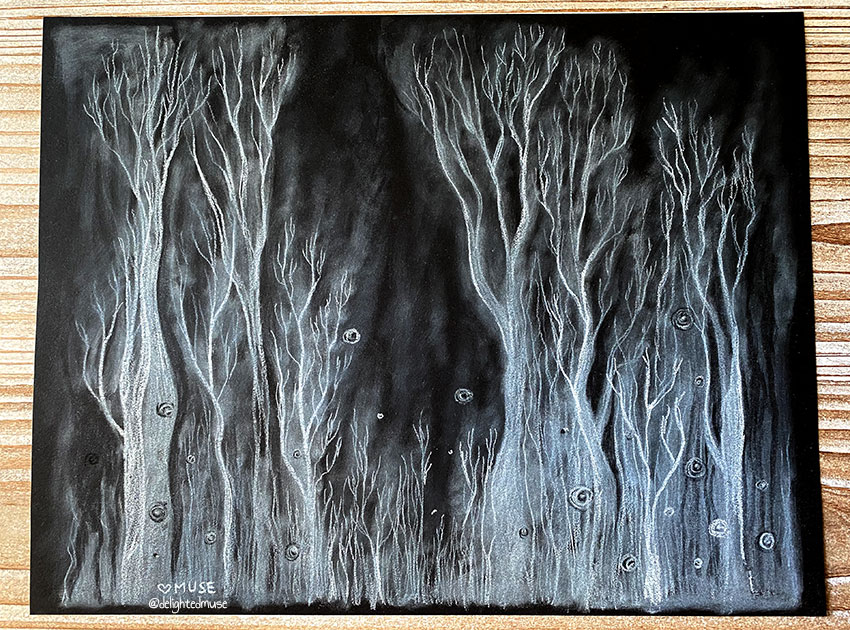 White tree banch shapes and ghostly mist drawn with white charcoal on black paper