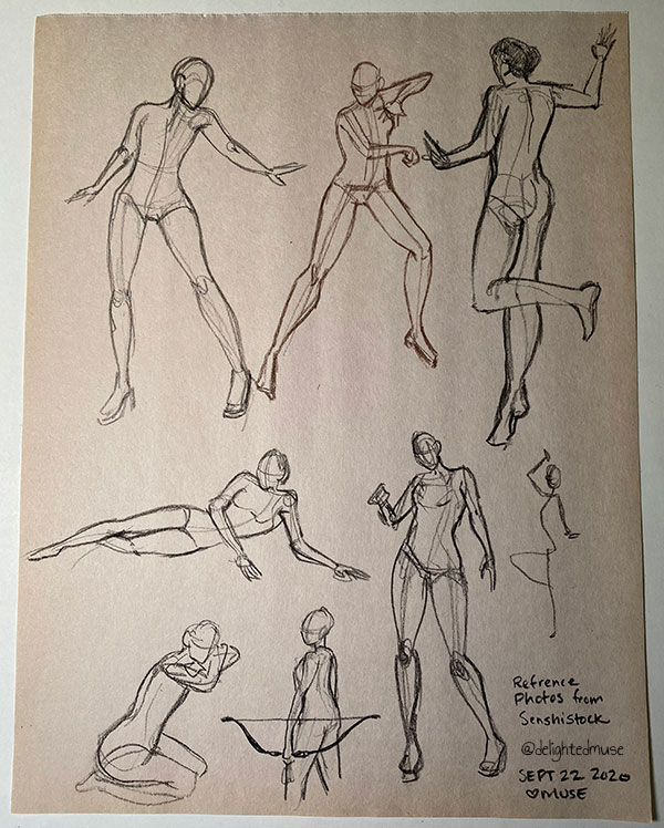 Rough charcoal gesture drawings of human figures in various action poses, reference photos by SenshiStock