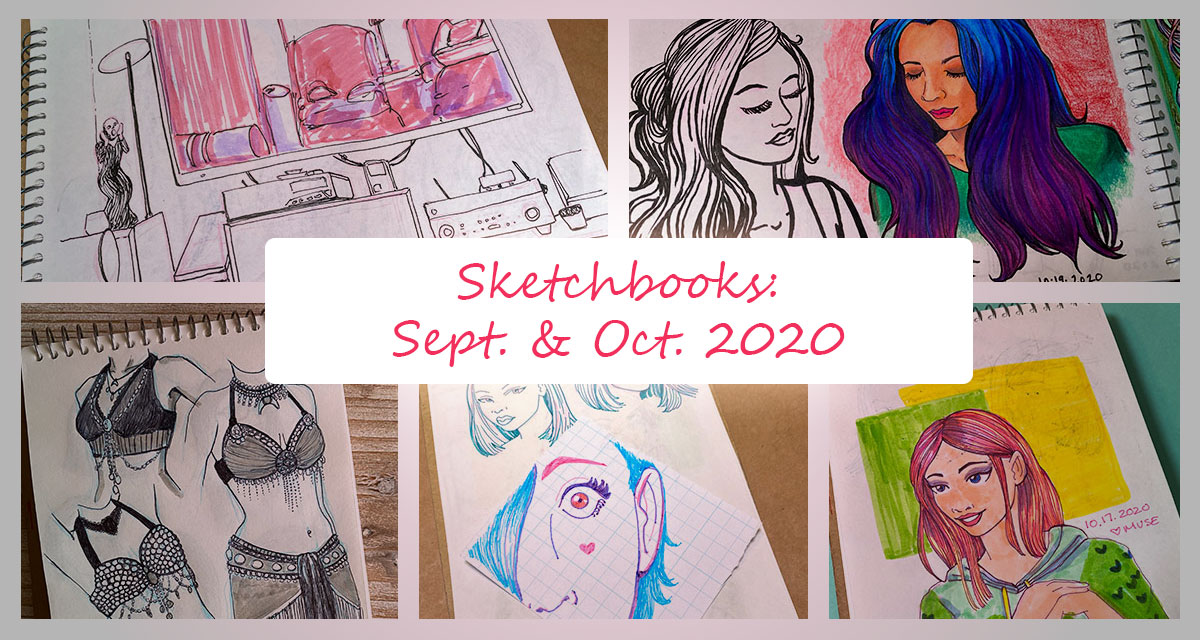 Sketchbooks: September and October 2020 featured image with multiple sketchbook pages collaged into a single image