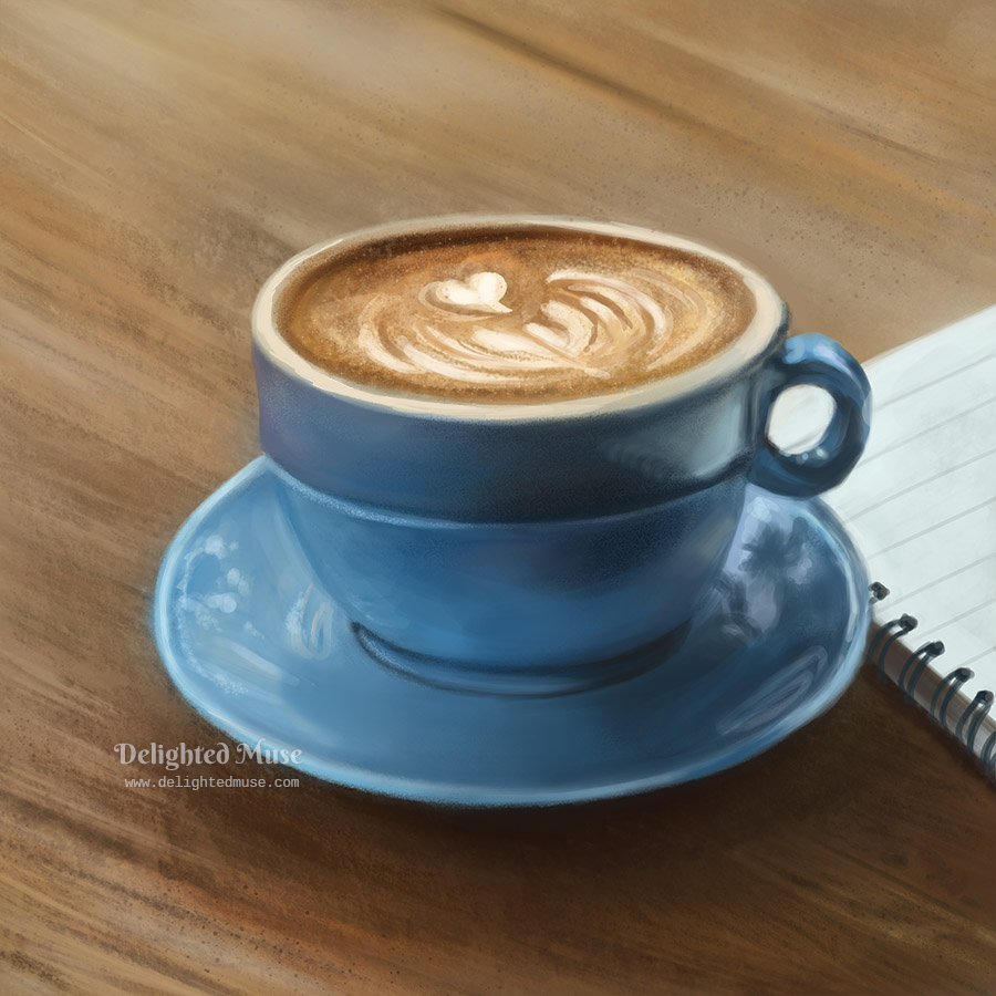Digital painting of a small blue coffee cup on a saucer, next to a notebook