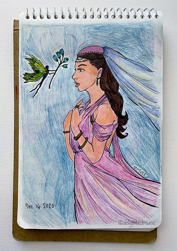 Sketchbook page showing a woman in a drapped gown and head cap with flowing veil. A fairy creature is offering her a teal flower.