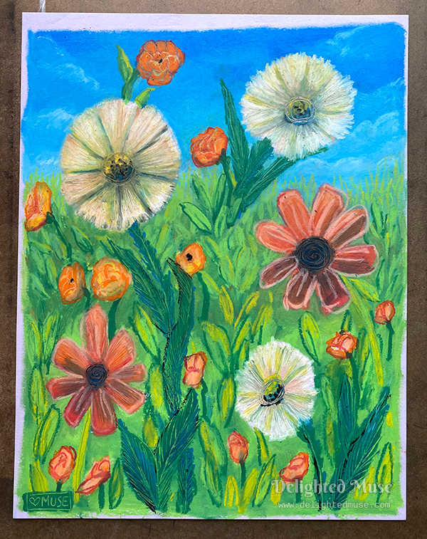 Oil pastel drawing of flowers in a meadow, with simplified shadpes and a collaged, flattened appearance
