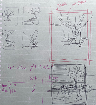 A ruled notebook page, with ball point pen sketches planning the tree drawing composition