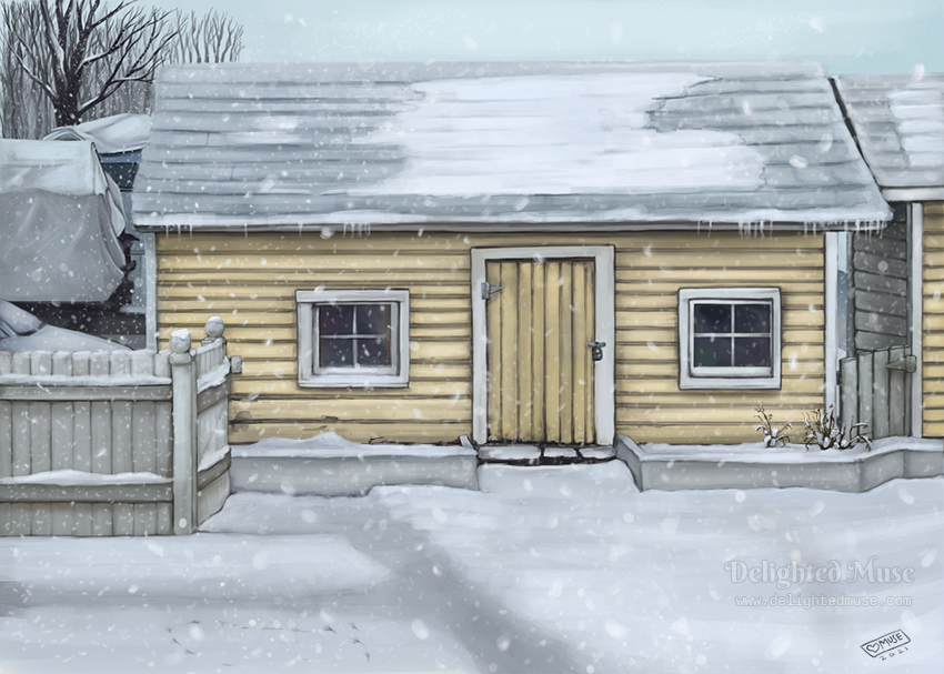Digital painting of a yellow shed in a backyard, with snow covering the roof and ground and snow falling.
