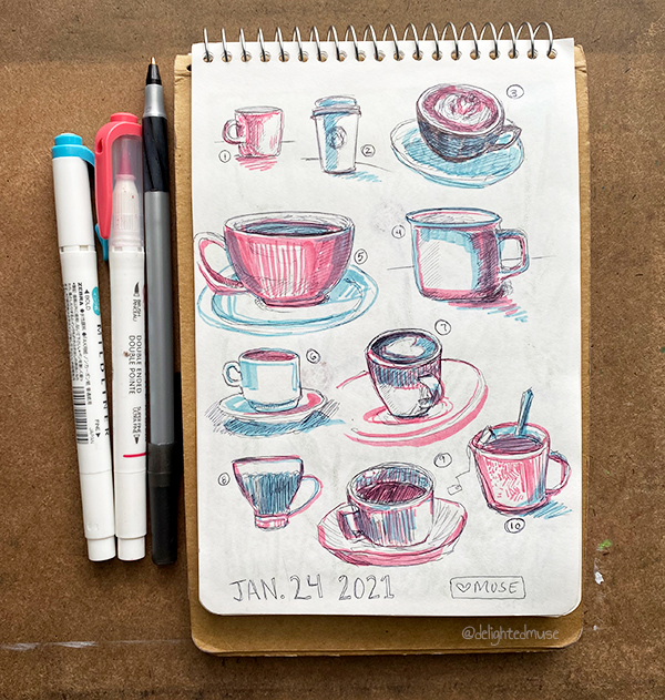 A sketchbook page of various sized coffee and tea mugs, drawing in black ball point pen and pinka nd blue highlighter.