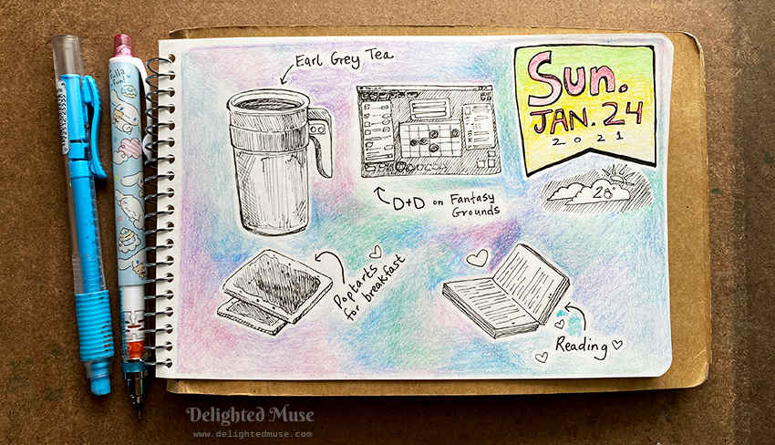 A small sketchbook page showing ink and colored pencil sketches of a travel mug of tea, poptarts, an open book, and a sketch of the Fantasy Grounds game screen.