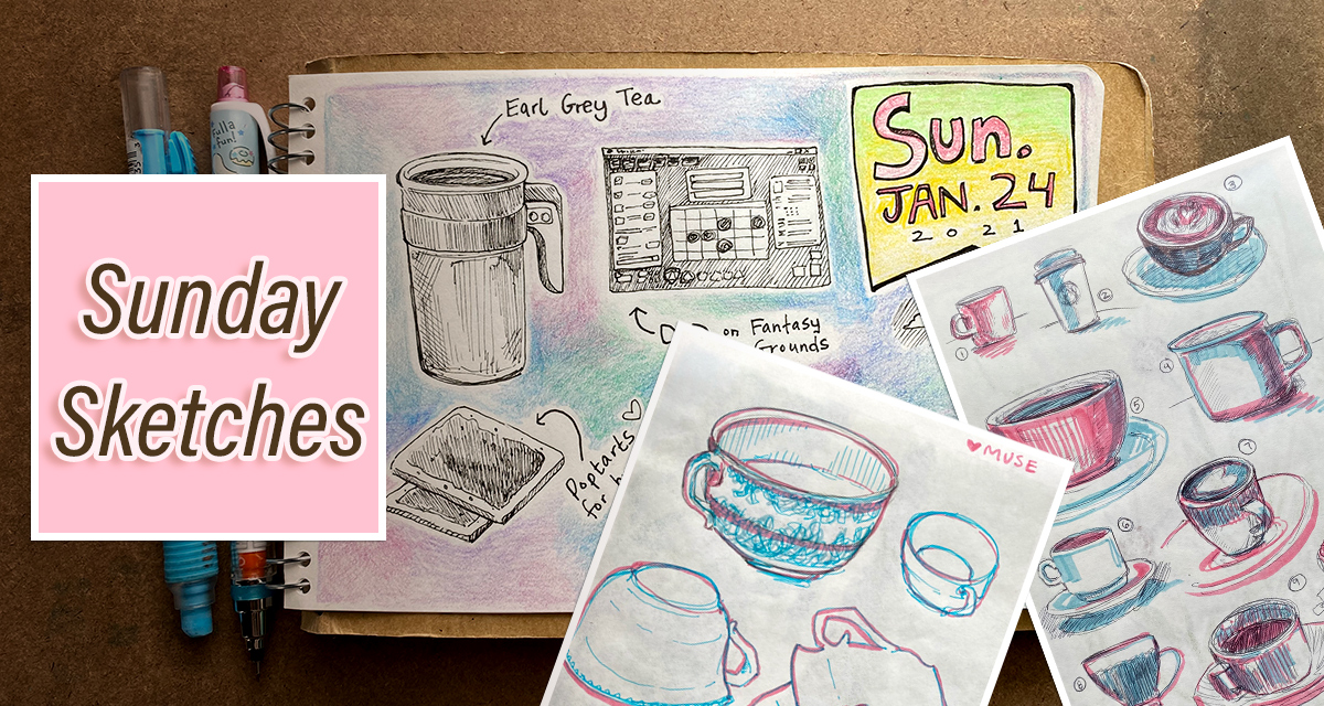 A collage of three sketchbook pages and the text Sunday Sketches