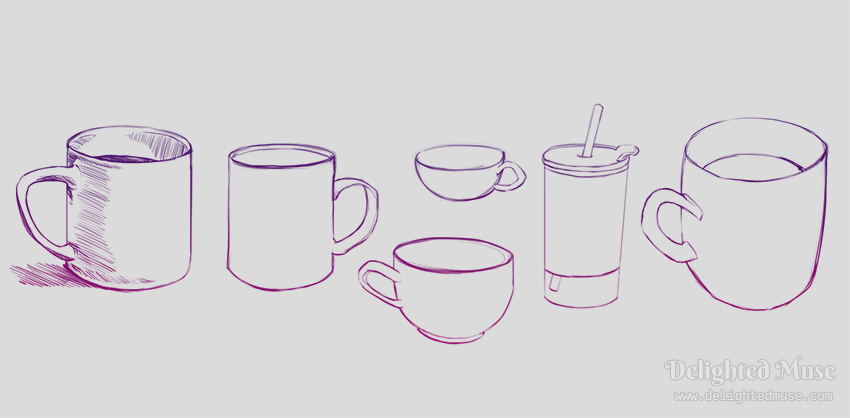 Contour drawings of mugs and a water cup with a straw