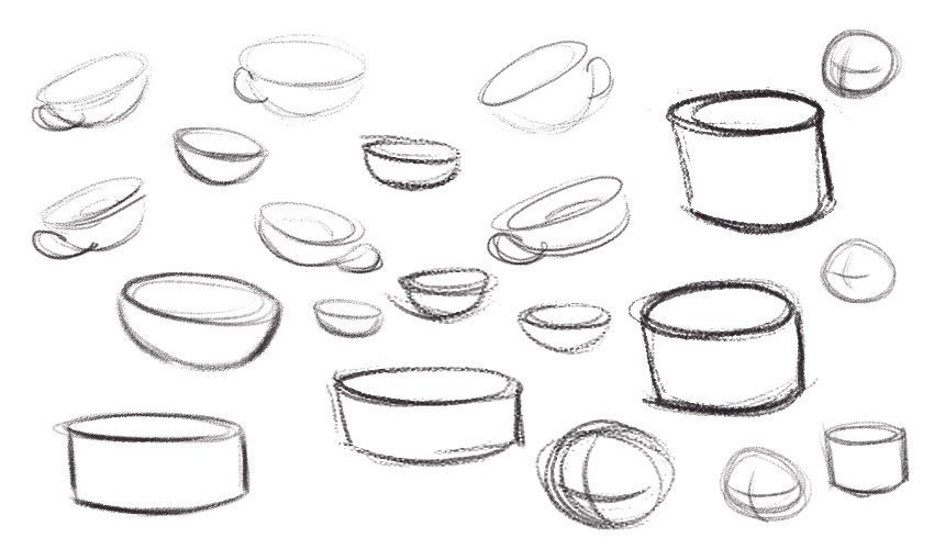 Quick sketches of cups and cylinders, done with a textured brush