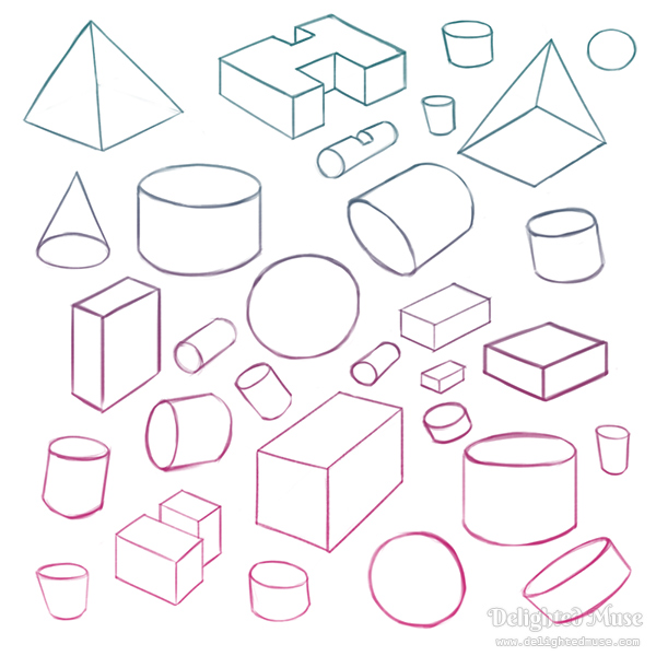 A digital sketch of basic geometric shapes of spheres, cylinders, cubes, and pyramids, drawn in line art with a pink and blue gradient applied.