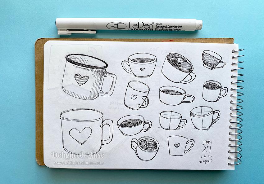 A sketchboko page of coffee mugs, drawn in ink pen