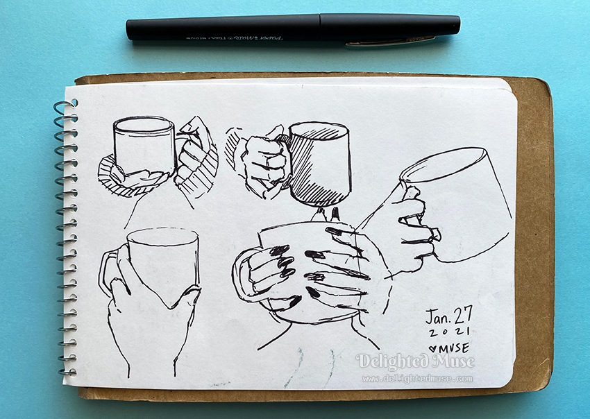 A sketchbook page of hands holding coffee mugs, drawn in felt pen