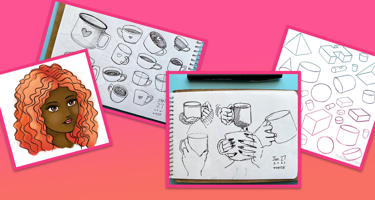 A collage of four images on a pink and orange gradient backdrop. The sketches show a woman's face, mugs, and basic geometric shapes