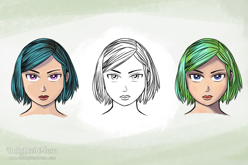 Digital line art of a short hairs girl with a serious experession. The line art is copied three - the left with teal hair, the center with no color added, the right with green hair.