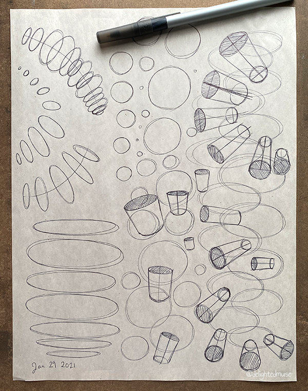 A newsprint sheet of ballpoint pen sketched ellipses and cylinders