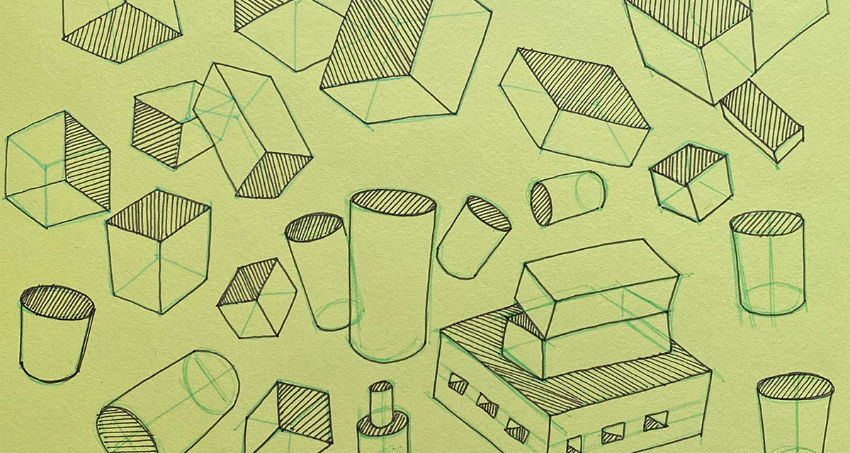 A drawing of boxes and cyclinders tilted in space and occassionally intersecting or overlapping