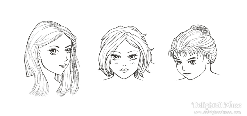 Digital sketch of three faces with female features, one as three-quarter view with shoulder length hair, one front facing with short wavy hair, and one looking down and to the left with hair in a bun