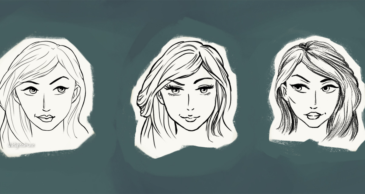 Digital sketch of three women's faces, all similar, with smirking expression
