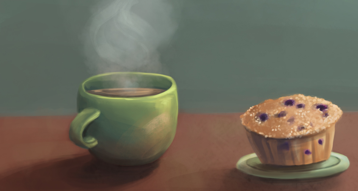A digital painting of green coffee mug full of coffee, with steam curly up, next to a plate with a blueberry muffin