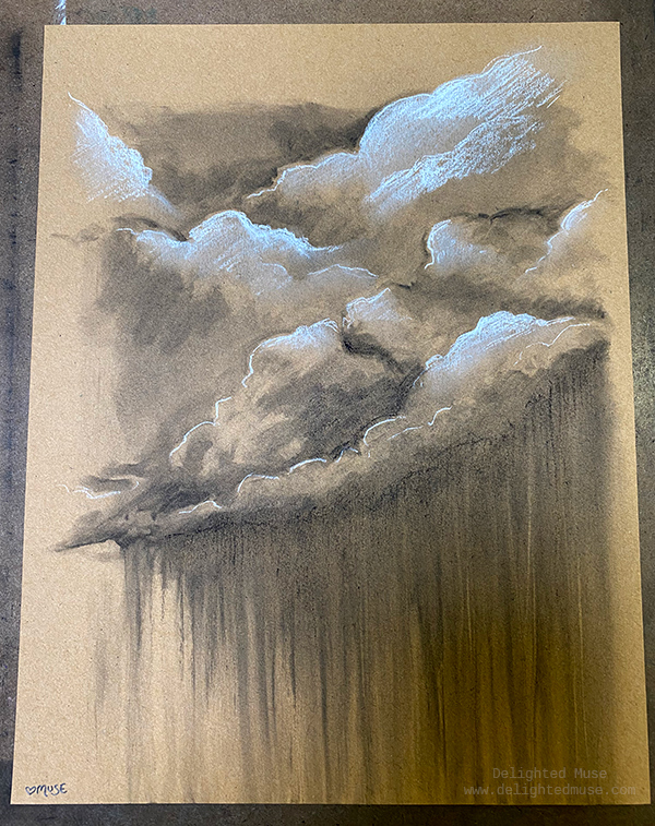 Charcoal drawing of clouds and rain