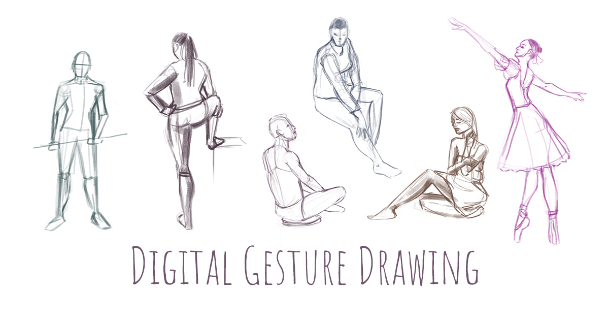 Several gesture drawings of figures, drawn with a digital pastel brush