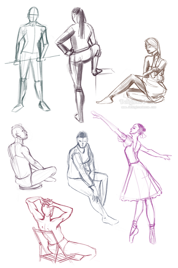 Seven gesture drawings of figures, three in standing poses and four in sitting poses