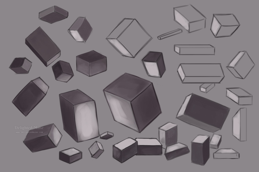 Digital painting of several boxes rotated in space, some with shading and others left as sketch lines