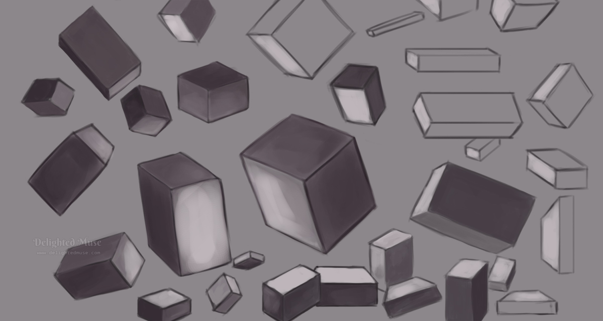 Digital painting of boxes rotated in space