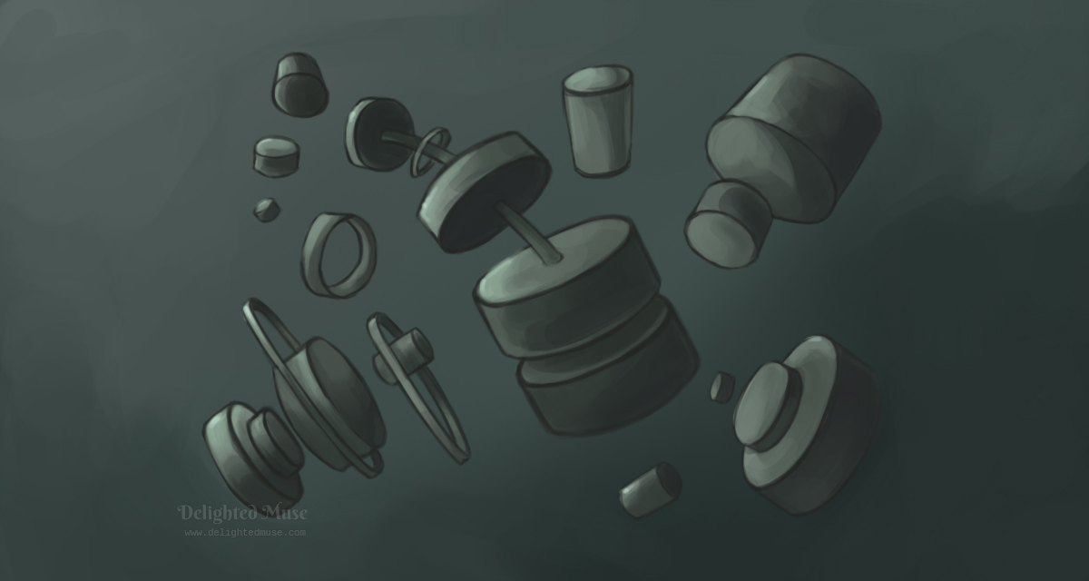 Digital painting of various cylinder shapes rotated in space with shading