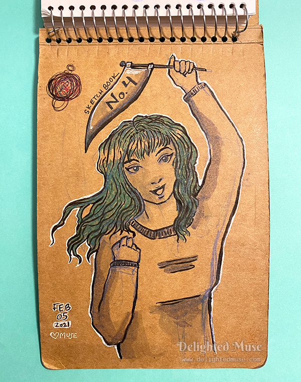Back inside sketchbook cover with drawing of greenhaired woman holding a penant that has the words No 4
