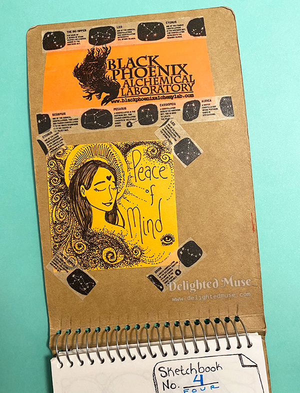 Inside sketchbook cover with taped post-it with a drawing of a face with eyes closed and the words peace of mind