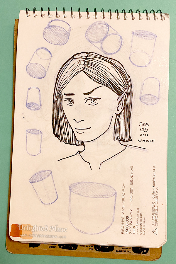 Sketchbook page with a drawing of an androgenous elven face and cylinders