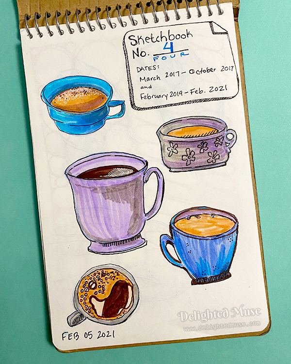 Sketchbook page with ink and marker drawings of tea and coffee cups