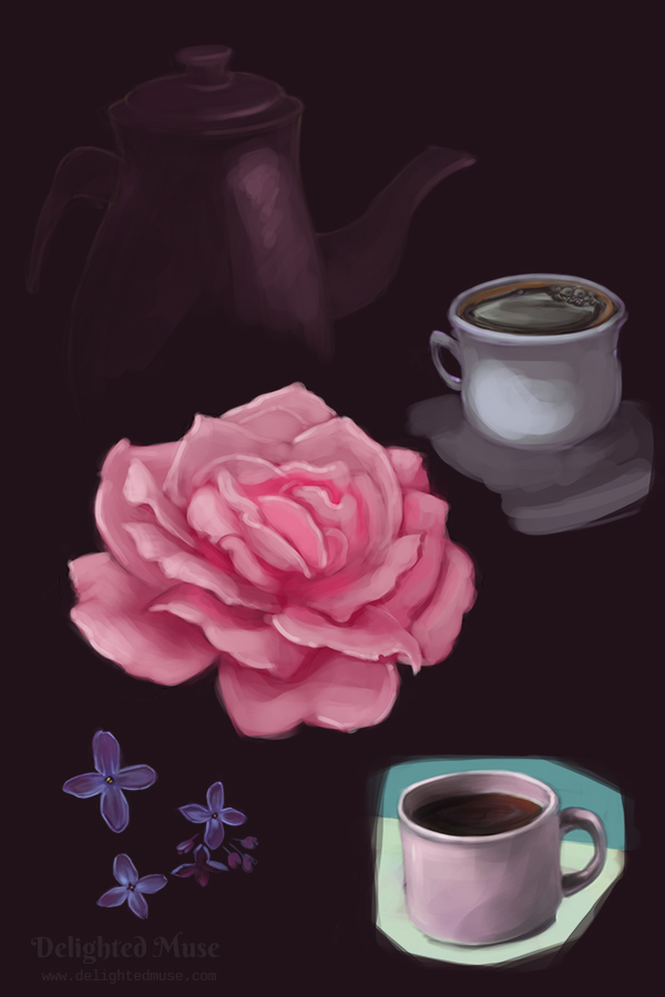 A digital painting of a rose, lilac flowers, two coffee cups, and a teapot