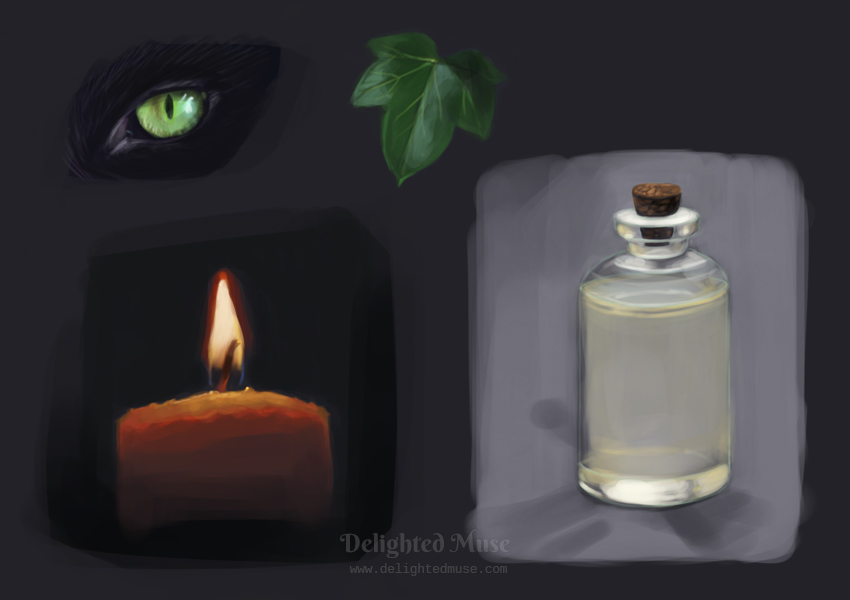 Digital painting studies of: a green cat eye, a candle flame, a potion bottle, and an ivy leaf