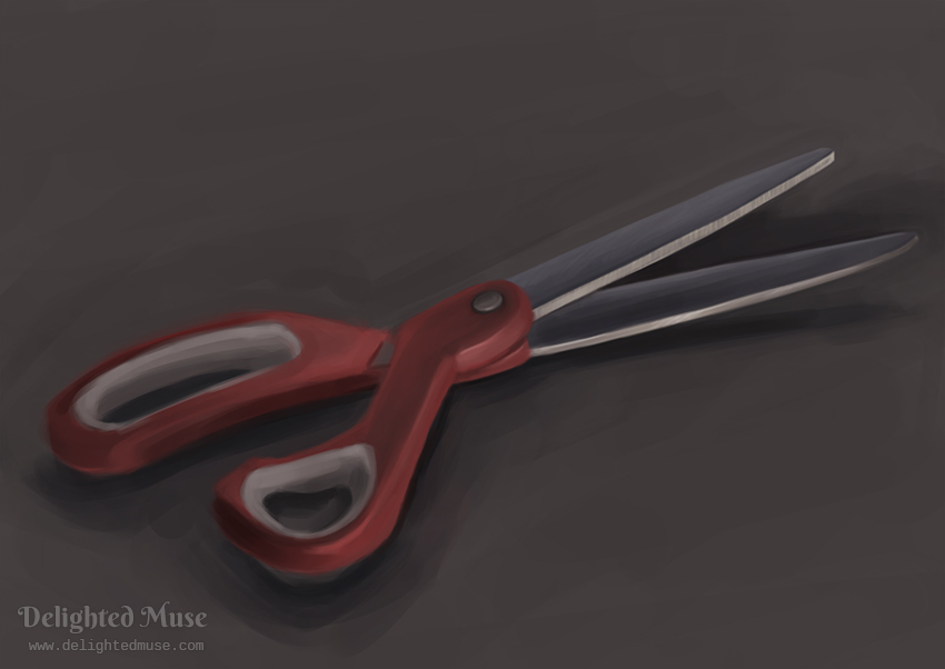 Digital painting of a pair of scissors with a red plastic handle