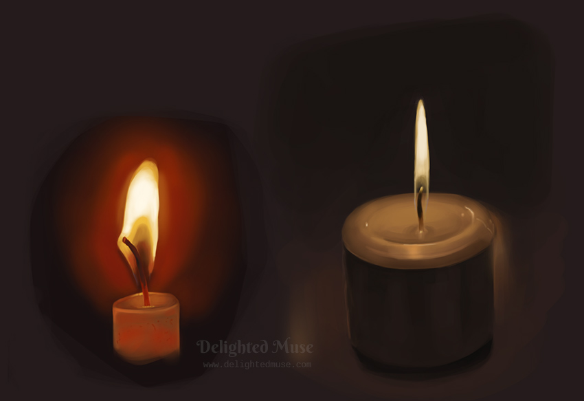 A digital painting of two candles alight in darkness