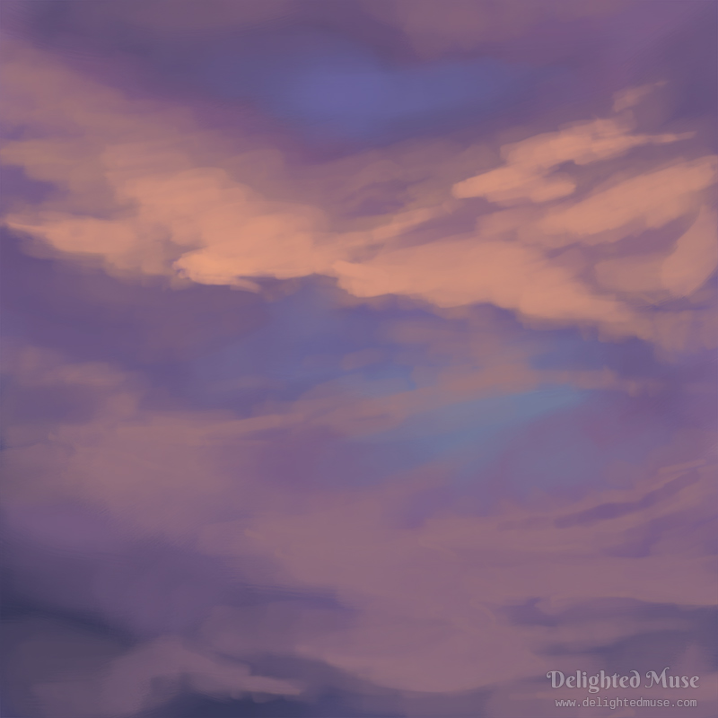 Digital painting of purple and orange clouds