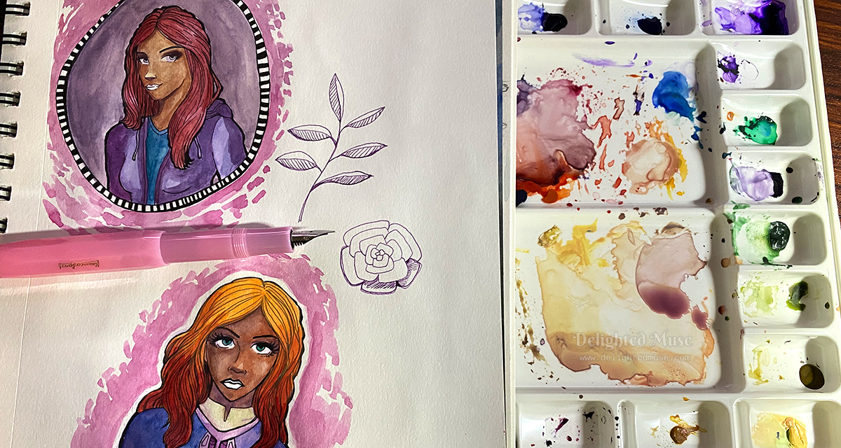 An open sketchbook with two character portraits, next to a watercolor palette